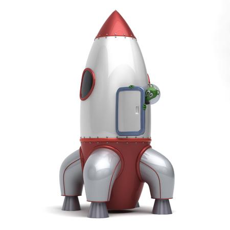 Alien on missile Stock Photo