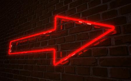 Rode pijl neon Stockfoto