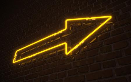 Gele pijl neon Stockfoto