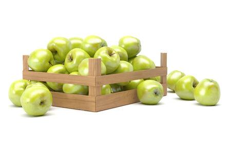 groene appels in een doos