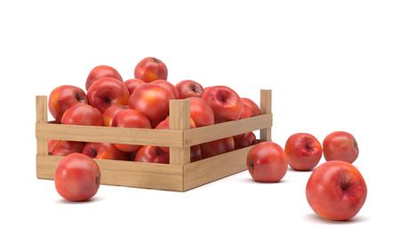rode appels in een doos Stockfoto
