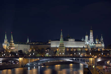 MOSCOW - OCTOBER 24  Moscow  View of the Kremlin with the Patriarchal bridge   Moscow  On October 24, 2012 photo