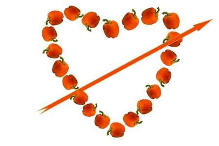 allocated on white: Valentine of paprika, executed in the form of the heart with an arrow on a white background  Beautiful Valentine made of paprika allocated on a white background