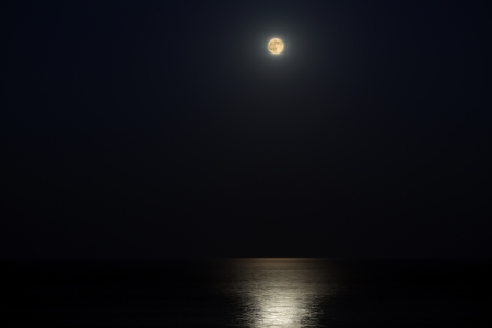 Night. A full moon. The moon lights the sea surface photo