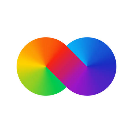 Thick line infinity sign color spectrum. Rainbow gradient in the shape of the infinity sign. Eight sign colorful gradient. Two circles conjoined.