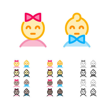 Cute girl with bow and boy with bowtie modern outline icons in different colors. Man and woman sexes signs. Funny kids emoji. Female and male genders icons. Ilustração