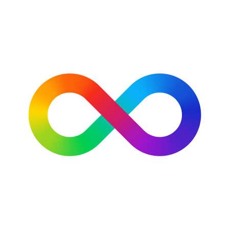 무한대 기호 색상 스펙트럼입니다. 무한대 기호 모양에 무지개 그라디언트. 8 개의 기호 화려한 그라데이션. 일러스트