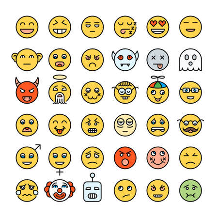Set of detailed yellow color emoji. Modern style smileys. Different emotions faces. Emoticons collection.