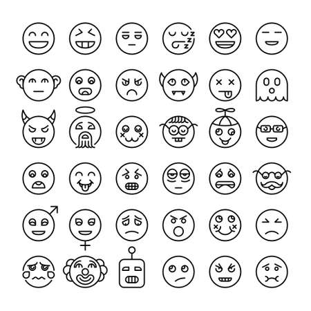 Set of detailed outline emoji. Modern style smileys. Different emotions faces. Emoticons collection.