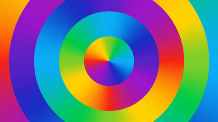 Colorful abstract background with colorful gradient colored circles. Color wheel. Fun, bright, cheerful color background. Color spectrum RGB art.