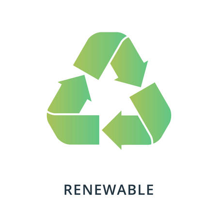 Renewable icon. Flat style icon design. UI. Illustration of renewable icon. Pictogram isolated on white. Ready to use in web design, apps, software, print. Ilustrace