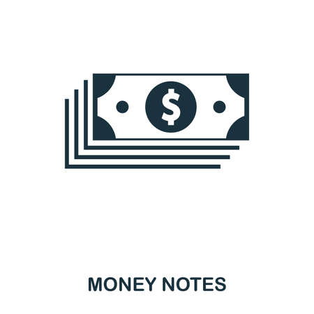 Money Notes icon. Flat style icon design. UI. Illustration of money notes icon. Pictogram isolated on white. Ready to use in web design, apps, software, print. Illustration