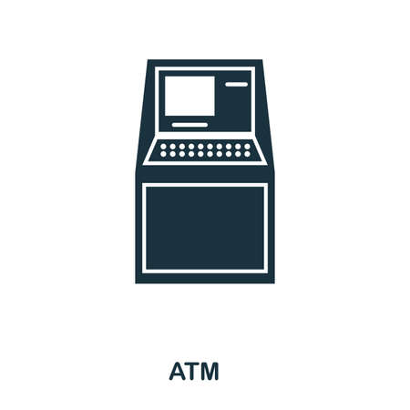 Atm icon. Flat style icon design. UI. Illustration of atm icon. Pictogram isolated on white. Ready to use in web design, apps, software, print.