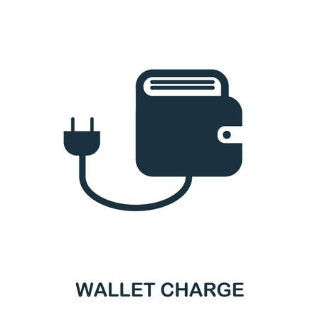 Wallet Charge icon. Flat style icon design. UI. Illustration of wallet charge icon. Pictogram isolated on white. Ready to use in web design, apps, software, print. 写真素材 - 102170317