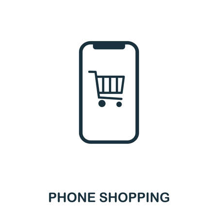 Phone Shopping icon. Flat style icon design. UI. Illustration of phone shopping icon. Pictogram isolated on white. Ready to use in web design, apps, software, print.