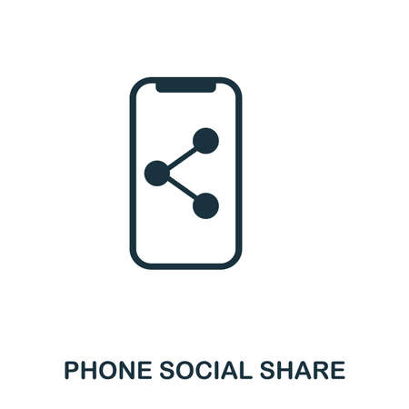 Phone Social Share icon. Flat style icon design. UI. Illustration of phone social share icon. Pictogram isolated on white. Ready to use in web design, apps, software, print.