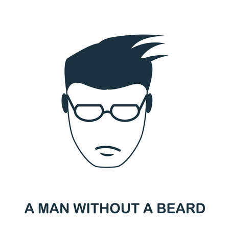 A Man Without A Beard icon. Flat style icon design. UI. Illustration of a man without a beard icon. Pictogram isolated on white. Ready to use in web design, apps, software, print.