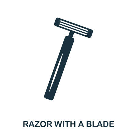 Razor With A Blade icon. Flat style icon design. UI. Illustration of razor with a blade icon. Pictogram isolated on white. Ready to use in web design, apps, software, print