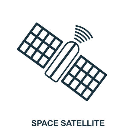 Space Satellite icon. Flat style icon design. UI. Illustration of space satellite icon. Pictogram isolated on white. Ready to use in web design, apps, software, print.