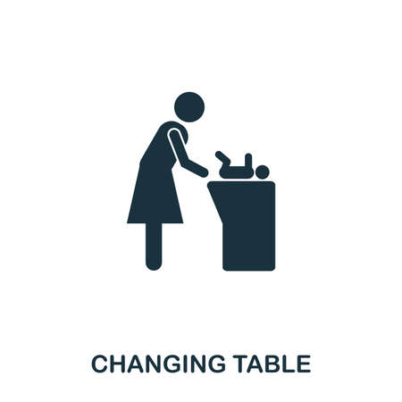 Changing Table icon. Mobile apps, printing and more usage. Simple element sing. Monochrome Changing Table icon illustration.