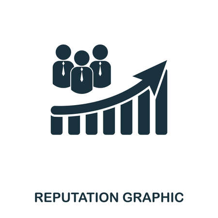 Reputation Increase Graphic icon. Mobile apps, printing and more usage. Simple element sing. Monochrome Reputation Increase Graphic icon illustration. Vectores