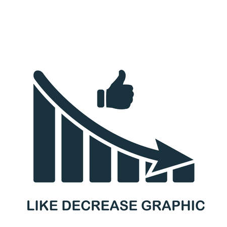 Like Decrease Graphic icon. Mobile app, printing, web site icon. Simple element sing. Monochrome Like Decrease Graphic icon illustration. Illustration
