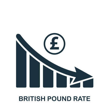 British Pound Rate Decrease Graphic icon. Mobile app, printing, web site icon. Simple element sing. Monochrome British Pound Rate Decrease Graphic icon illustration.