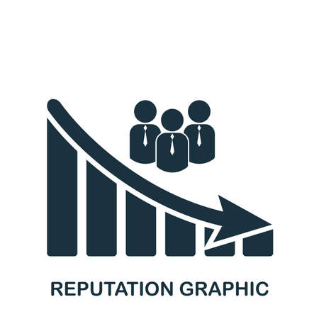 Reputation Decrease Graphic icon. Mobile app, printing, web site icon. Simple element sing. Monochrome Reputation Decrease Graphic icon illustration. Stock fotó