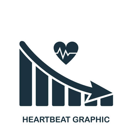 Heartbeat Decrease Graphic icon. Mobile app, printing, web site icon. Simple element sing. Monochrome Heartbeat Decrease Graphic icon illustration.