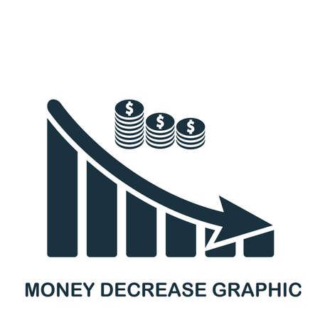 Money Decrease Graphic icon. Mobile app, printing, web site icon. Simple element sing. Monochrome Money Decrease Graphic icon illustration.
