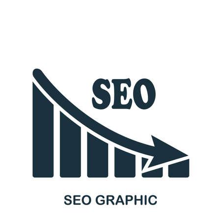 Seo Decrease Graphic icon. Mobile app, printing, web site icon. Simple element sing. Monochrome Seo Decrease Graphic icon illustration.