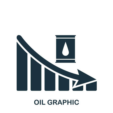 Oil Decrease Graphic icon. Mobile app, printing, web site icon. Simple element sing. Monochrome Oil Decrease Graphic icon illustration. Stockfoto