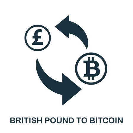 British Pound To Bitcoin icon. Mobile app, printing, web site icon. Simple element sing. Monochrome British Pound To Bitcoin icon illustration. Vettoriali