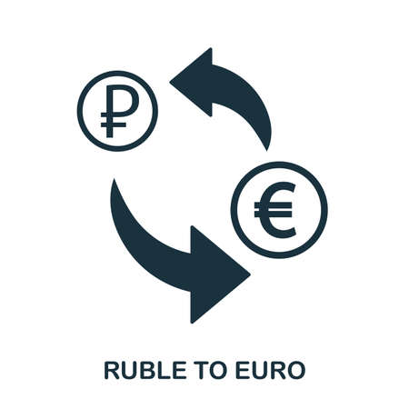 Ruble To Euro icon. Mobile app, printing, web site icon. Simple element sing. Monochrome Ruble To Euro icon illustration. Vettoriali