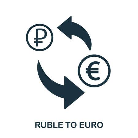 Ruble To Euro icon. Mobile app, printing, web site icon. Simple element sing. Monochrome Ruble To Euro icon illustration. Çizim