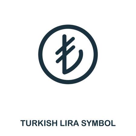 Turkish Lira Symbol icon. Mobile app, printing, web site icon. Simple element sing. Monochrome Turkish Lira Symbol icon illustration. Illustration