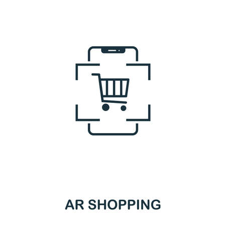 Ar Shopping icon. Mobile app, printing, web site icon. Simple element sing. Monochrome Ar Shopping icon illustration. Stock fotó - 103164234