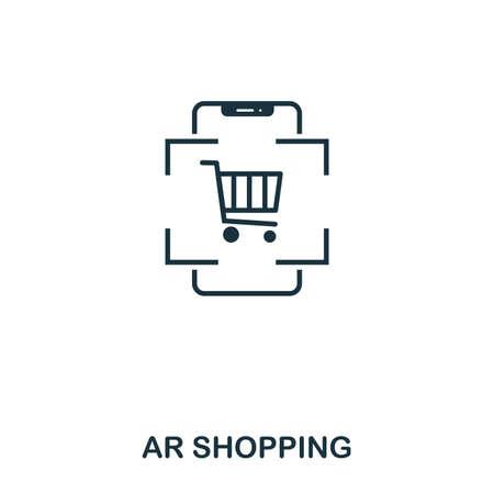 Ar Shopping icon. Mobile app, printing, web site icon. Simple element sing. Monochrome Ar Shopping icon illustration.