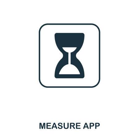 Measure App icon. Mobile app, printing, web site icon. Simple element sing. Monochrome Measure App icon illustration. Stockfoto