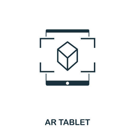 Ar Tablet icon. Mobile app, printing, web site icon. Simple element sing. Monochrome Ar Tablet icon illustration. Stock Photo