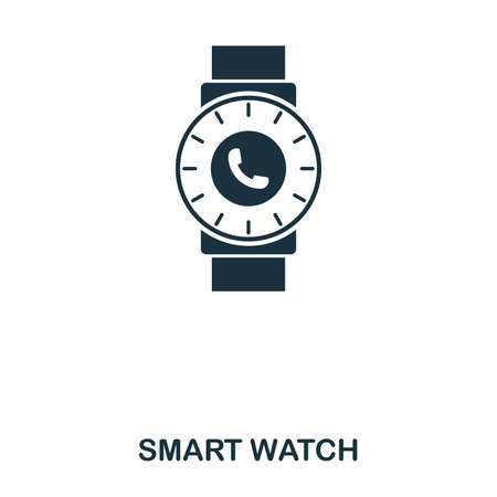 Smart Watch icon. Mobile app, printing, web site icon. Simple element sing. Monochrome Smart Watch icon illustration. Stock Photo
