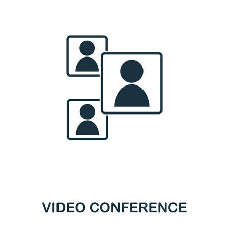 Video Conference icon. Mobile app, printing, web site icon. Simple element sing. Monochrome Video Conference icon illustration.