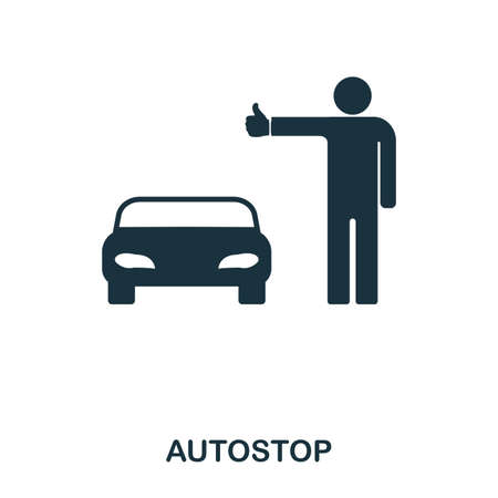 Autostop icon. Mobile app, printing, web site icon. Simple element sing. Monochrome Autostop icon illustration.