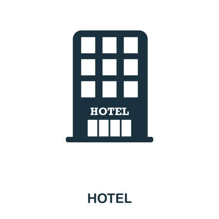 Hotel icon. Mobile app, printing, web site icon. Simple element sing. Monochrome Hotel icon illustration. Banque d'images - 103164478