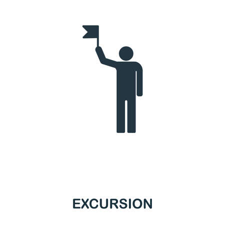Excursion icon. Mobile app, printing, web site icon. Simple element sing. Monochrome Excursion icon illustration. Stockfoto
