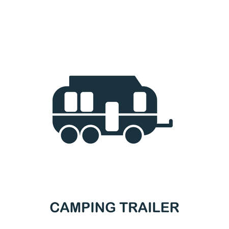 Camping Trailer icon. Mobile app, printing, web site icon. Simple element sing. Monochrome Camping Trailer icon illustration. Banque d'images - 103164483