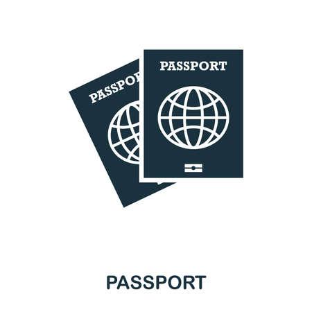 Passport icon. Mobile app, printing, web site icon. Simple element sing. Monochrome Passport icon illustration. Stock Photo