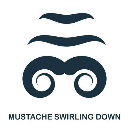 Mustache Swirling Down icon. Flat style icon design. UI. Illustration of mustache swirling down icon. Pictogram isolated on white. Ready to use in web design, apps, software, print.