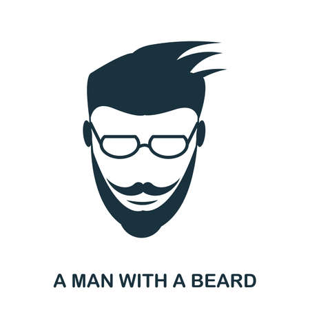 A Man With A Beard icon. Flat style icon design. UI. Illustration of a man with a beard icon. Pictogram isolated on white. Ready to use in web design, apps, software, print.
