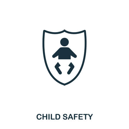 Child Safety icon. Mobile apps, printing and more usage. Simple element sing. Monochrome Child Safety icon illustration. Stock Illustration - 103166056